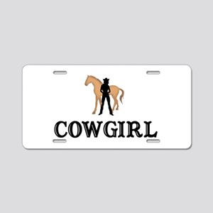 Cowgirl & Horse Aluminum License Plate