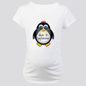 Penguin September Due Date Maternity T-Shirt