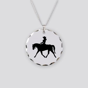 Cute Cowgirl on Horse Necklace Circle Charm