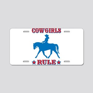 Red & Blue Cowgirls Rule Aluminum License Plate