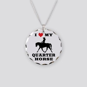 I Heart My Quarter Horse Necklace Circle Charm