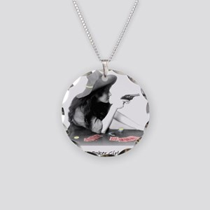 poker girl Necklace Circle Charm