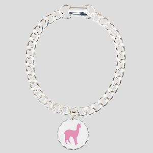 pink standing alpaca Charm Bracelet, One Charm