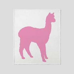 pink standing alpaca Throw Blanket