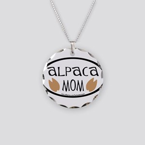 Alpaca Mom Oval Necklace Circle Charm