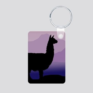 alpaca purple mountains Aluminum Photo Keychain