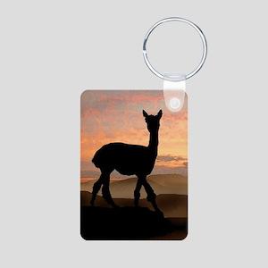 Alpaca Sunset Aluminum Photo Keychain