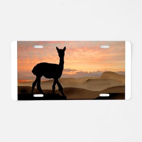 Alpaca Sunset Aluminum License Plate