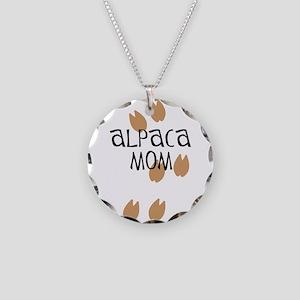Alpaca Mom Necklace Circle Charm