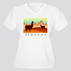 alpacas / mountains Women's Plus Size V-Neck T-Shi