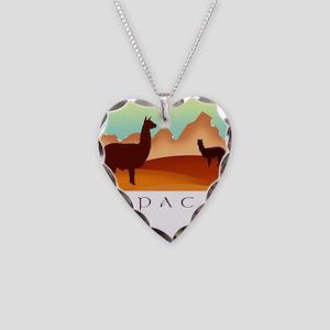 alpacas / mountains Necklace Heart Charm