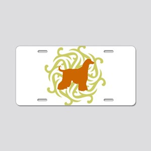 Lime & Rust Afghan Hound Aluminum License Plate
