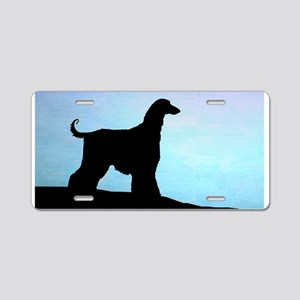 Afghan Hound Blue Sunset Aluminum License Plate
