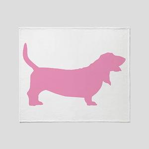 Pink Basset Hound Throw Blanket