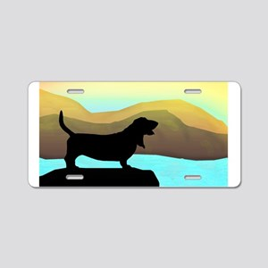 Basset Hound By The Sea Aluminum License Plate