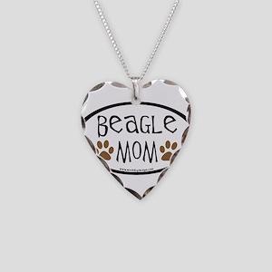 Beagle Mom Oval Necklace Heart Charm