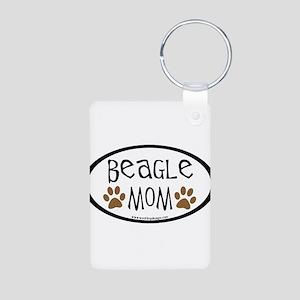 Beagle Mom Oval Aluminum Photo Keychain
