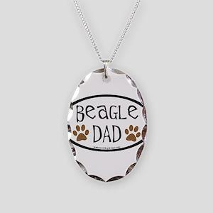 Beagle Dad Oval Necklace Oval Charm