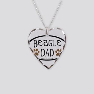 Beagle Dad Oval Necklace Heart Charm