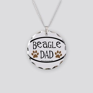 Beagle Dad Oval Necklace Circle Charm