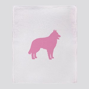 Pink Belgian Sheepdog Throw Blanket