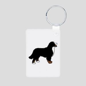 Tri Color Bernese Dog Aluminum Photo Keychain