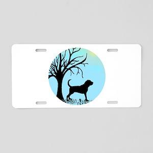 Tree & Bloodhound Dog Aluminum License Plate