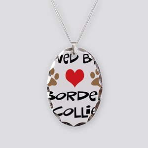 Loved By A Border Collie Necklace Oval Charm