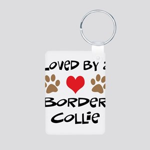 Loved By A Border Collie Aluminum Photo Keychain