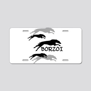 Many Borzois Running Aluminum License Plate