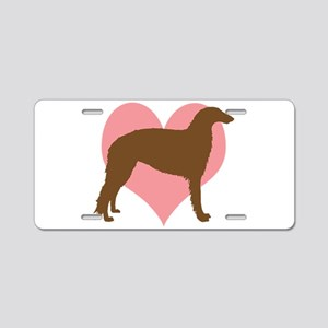 Borzoi Dog Heart Aluminum License Plate
