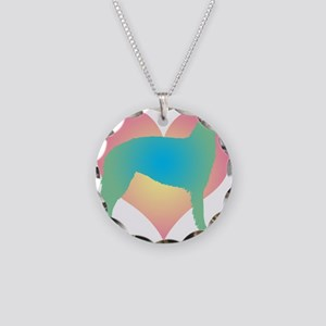 borzoi multicolor heart Necklace Circle Charm