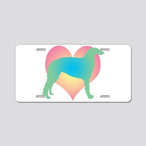 borzoi multicolor heart Aluminum License Plate