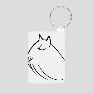 Bouvier Dog Head Sketch Aluminum Photo Keychain