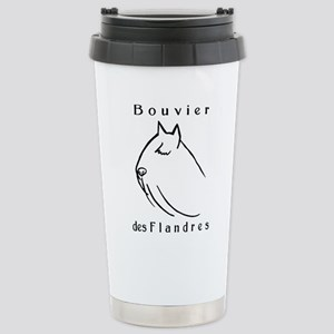 Bouvier Head Sketch w/ Text Stainless Steel Travel