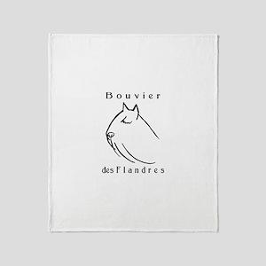 Bouvier Head Sketch w/ Text Throw Blanket