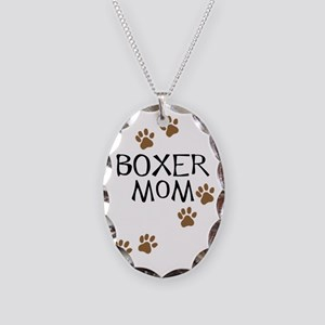 Boxer Mom Necklace Oval Charm