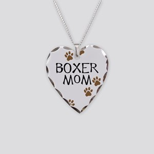 Boxer Mom Necklace Heart Charm