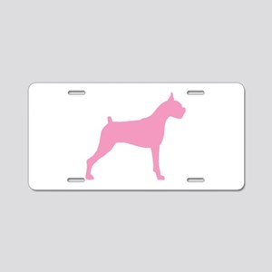 Pink Boxer Dog Aluminum License Plate