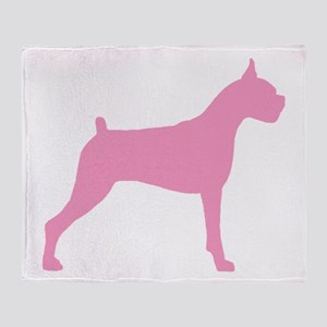 Pink Boxer Dog Throw Blanket