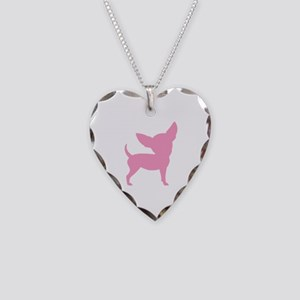 Pink Funny Cute Chihuahua Necklace Heart Charm