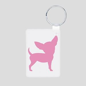 Pink Funny Cute Chihuahua Aluminum Photo Keychain