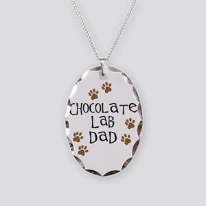 Chocolate Lab Dad Necklace Oval Charm