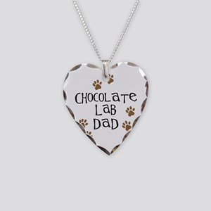 Chocolate Lab Dad Necklace Heart Charm