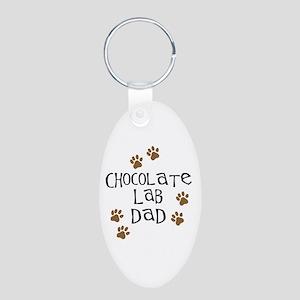 Chocolate Lab Dad Aluminum Oval Keychain