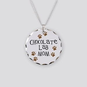 Chocolate Lab Mom Necklace Circle Charm