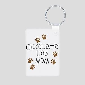Chocolate Lab Mom Aluminum Photo Keychain