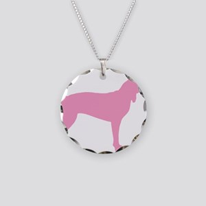 Pink Coonhound Necklace Circle Charm
