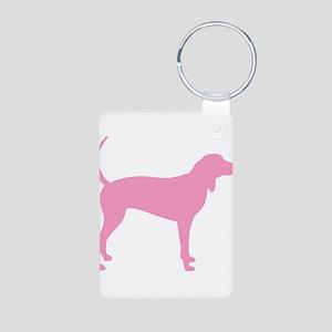 Pink Coonhound Aluminum Photo Keychain