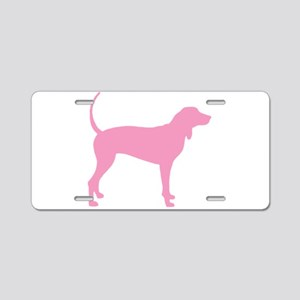 Pink Coonhound Aluminum License Plate